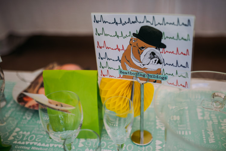 Bull Dog Table Name Colourful Cool Hand Made Wedding http://www.jonnybarratt.com/