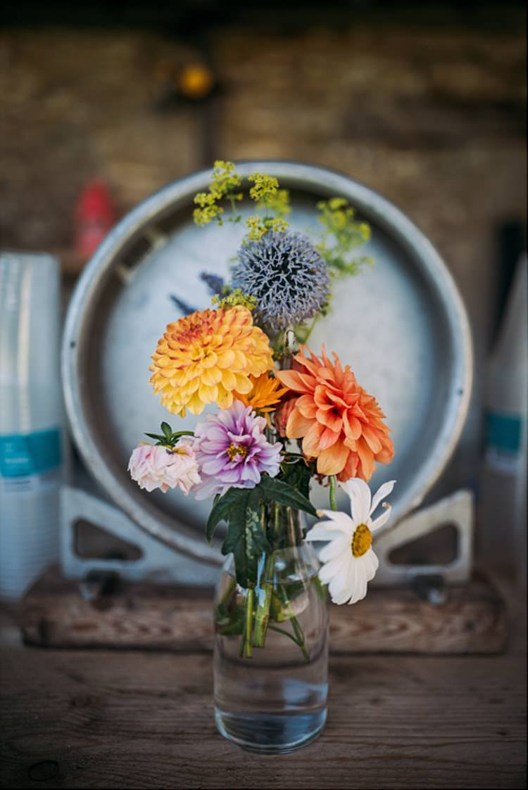 Dahlia Bottle Flowers Summer Colourful Cool Hand Made Wedding http://www.jonnybarratt.com/