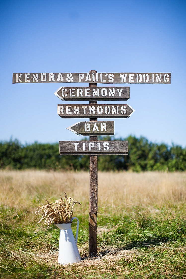 Wooden Sign Post Rustic Pretty Outdoorsy Yellow Tipi Wedding http://www.binkynixon.com/