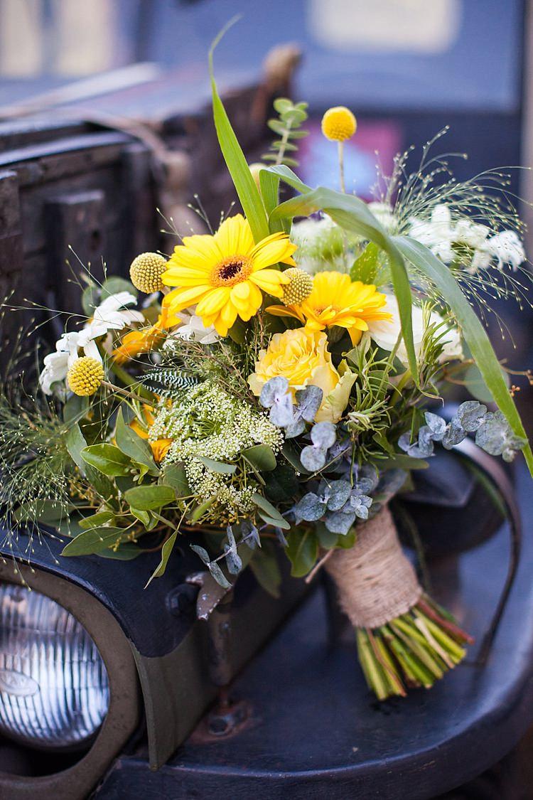 Bouquet Flowers Gerbera Bride Bridal Pretty Outdoorsy Yellow Tipi Wedding http://www.binkynixon.com/