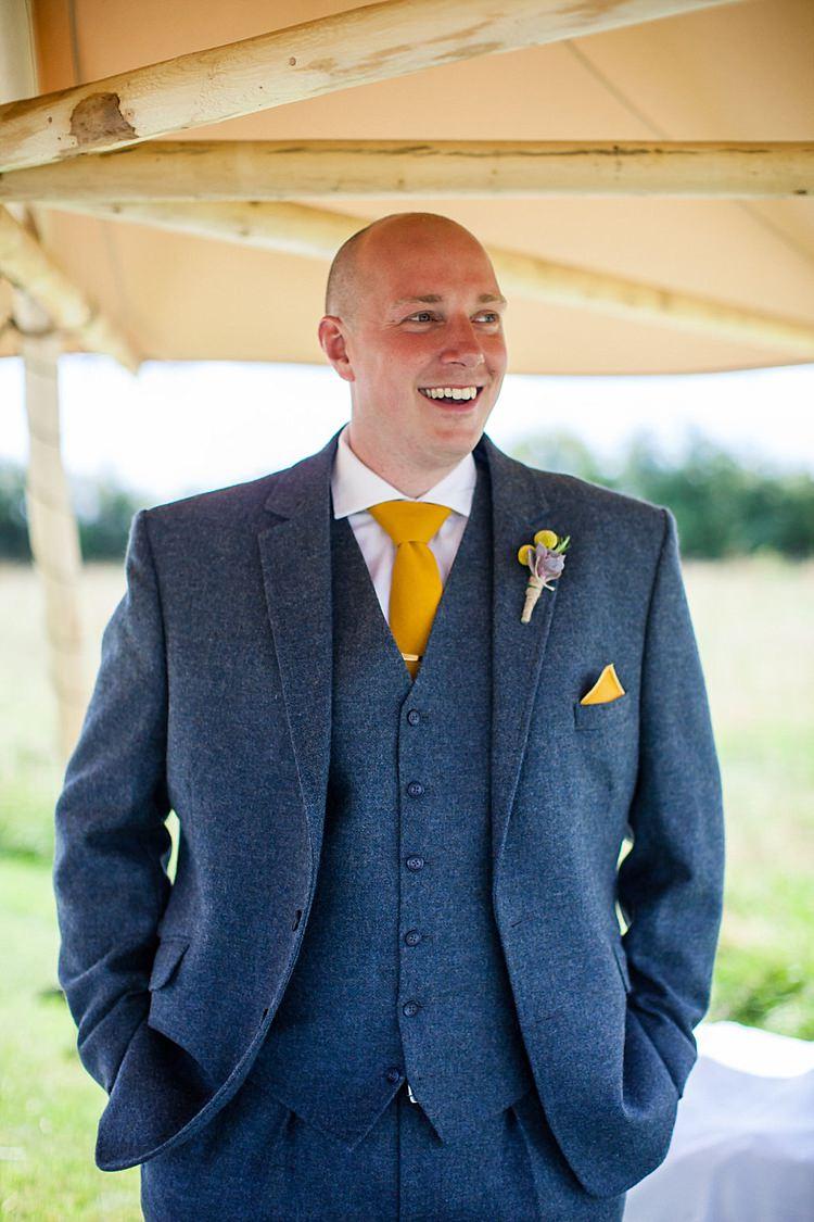 Blue Wool Tweed Suit Groom Pretty Outdoorsy Yellow Tipi Wedding http://www.binkynixon.com/