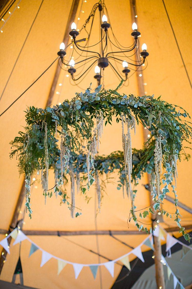 Foliage Greenery Ring Chandelier Hanging Decor Pretty Outdoorsy Yellow Tipi Wedding http://www.binkynixon.com/