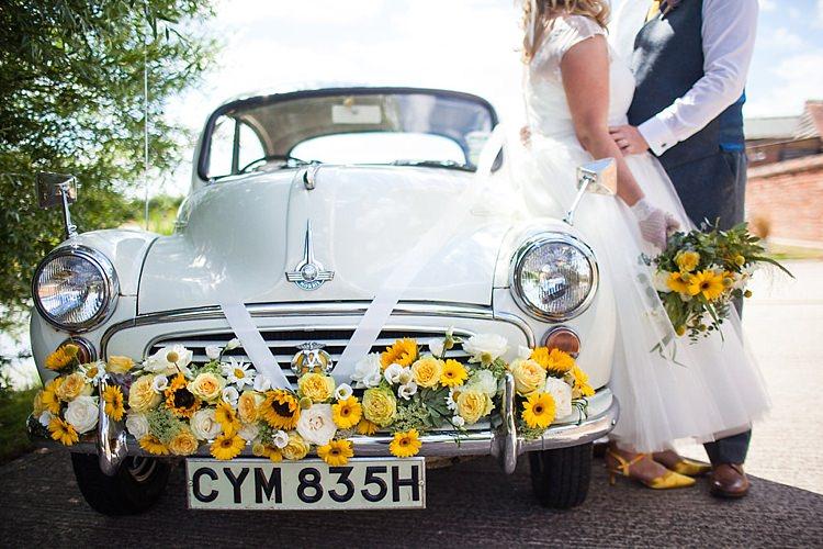 Morris Minor Car Transport Flowers Pretty Outdoorsy Yellow Tipi Wedding http://www.binkynixon.com/
