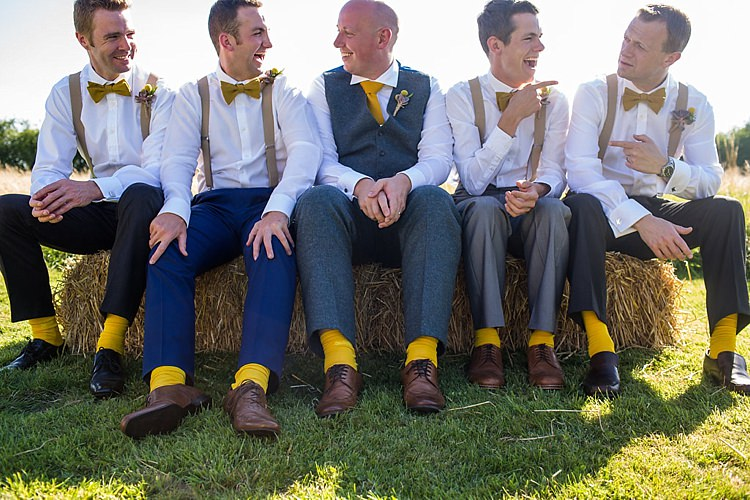 Bow Ties Braces Socks Groom Groomsmen Pretty Outdoorsy Yellow Tipi Wedding http://www.binkynixon.com/