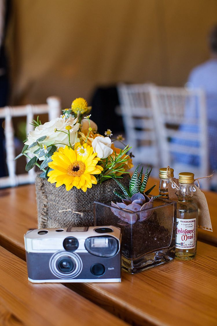 Table Flowers Centerpiece Succulent Camera Pretty Outdoorsy Yellow Tipi Wedding http://www.binkynixon.com/