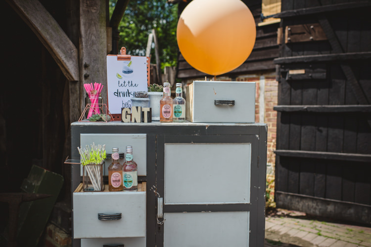 Furniture Drink Station Bar Gin Magical Fun Outdoor Barn Wedding http://www.sophieduckworthphotography.com/