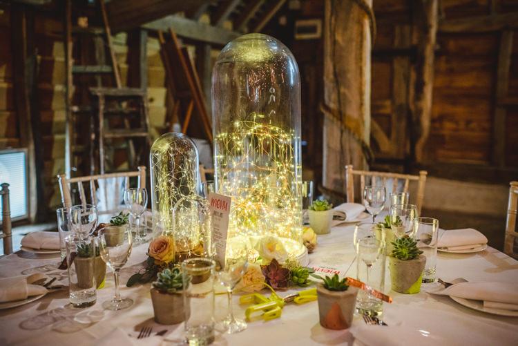 Bell Jar Fairy Light Centrepiece Decor Magical Fun Outdoor Barn Wedding http://www.sophieduckworthphotography.com/
