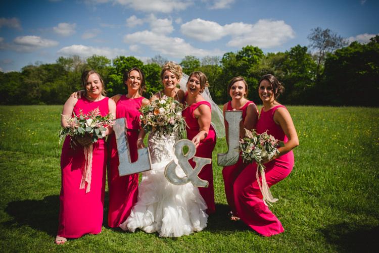 Pink Bridesmaid Dresses Long Magical Fun Outdoor Barn Wedding http://www.sophieduckworthphotography.com/