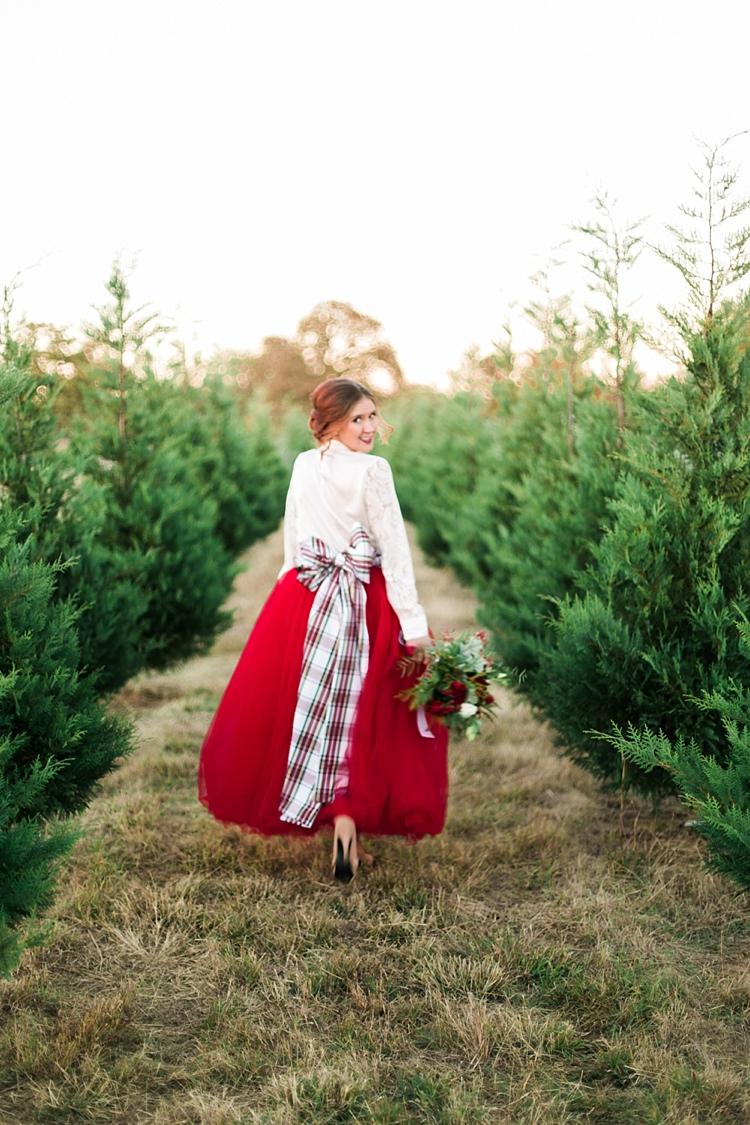 Red Skirt Tartan Bow Bride Bridal Outfit Christmas Tree Farm Wedding Ideas http://loriblythe.com/