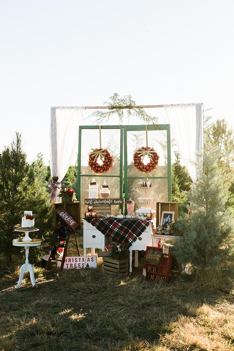 Hot Chocolate Bar Stand Station Table Frame Furniture Christmas Tree Farm Wedding Ideas http://loriblythe.com/