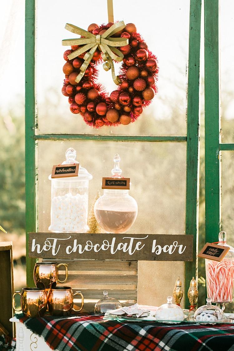 Hot Chocolate Station Bar Drinks Christmas Tree Farm Wedding Ideas http://loriblythe.com/