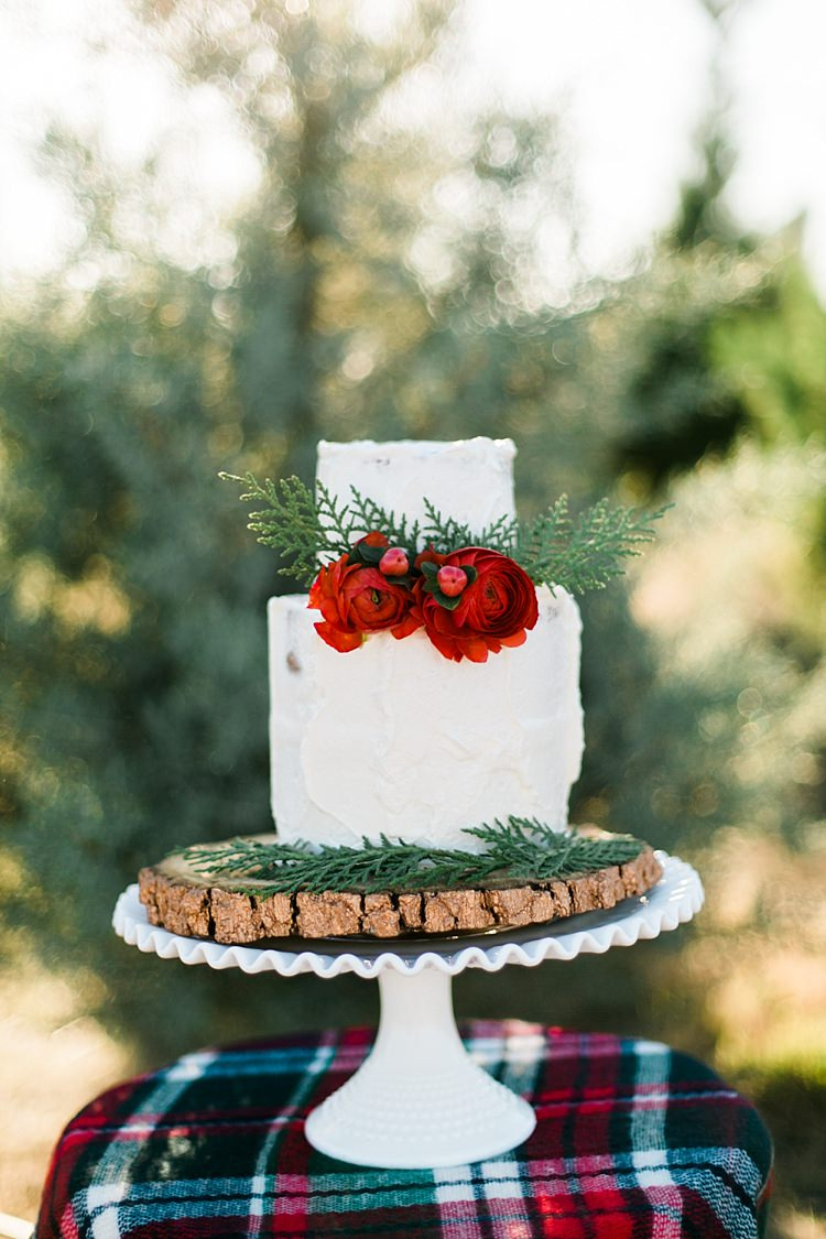 Buttercream Rustic Cake Flowers Log Stand Red Green White Christmas Tree Farm Wedding Ideas http://loriblythe.com/