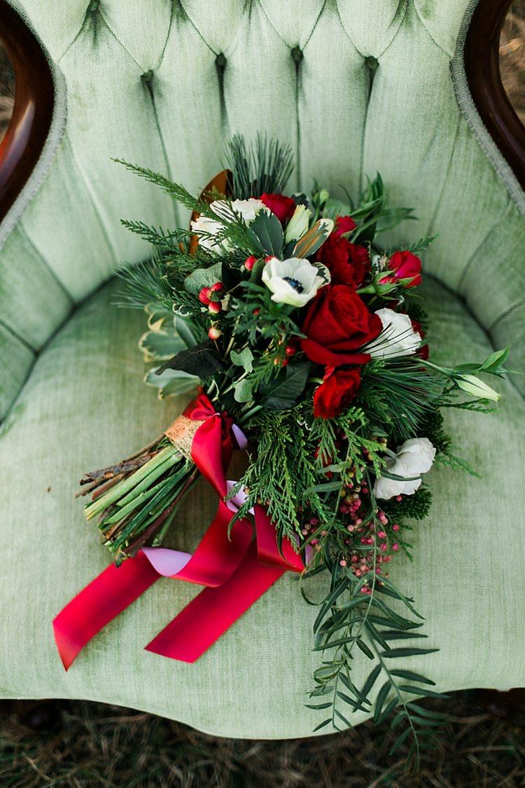 Bouquet Foliage Red Rose Berries Flowers Bride Bridal Christmas Tree Farm Wedding Ideas http://loriblythe.com/