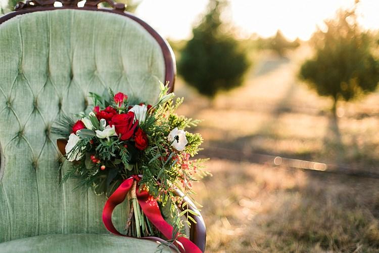 Foliage Red Rose Berries Flowers Bouquet Ribbon Christmas Tree Farm Wedding Ideas http://loriblythe.com/