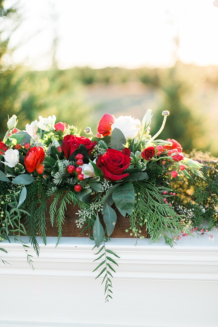Foliage Red Rose Berries Flowers Wooden Box Christmas Tree Farm Wedding Ideas http://loriblythe.com/