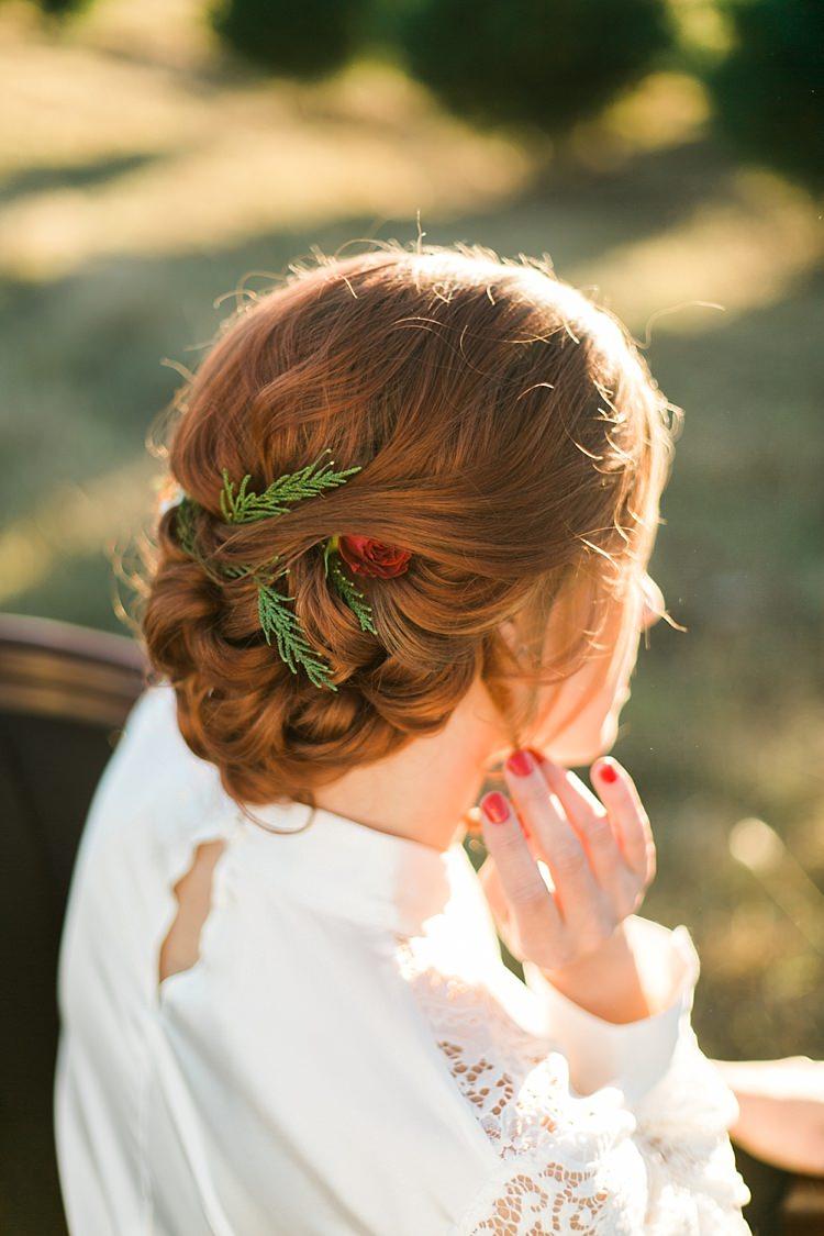 Hair Bride Bridal Style Up Do Christmas Tree Farm Wedding Ideas http://loriblythe.com/