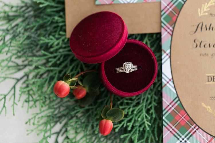 Diamond Halo Engagement Ring Band Bride Bridal Christmas Tree Farm Wedding Ideas http://loriblythe.com/