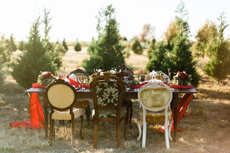 Outdoor Tablescape Chairs Christmas Tree Farm Wedding Ideas http://loriblythe.com/