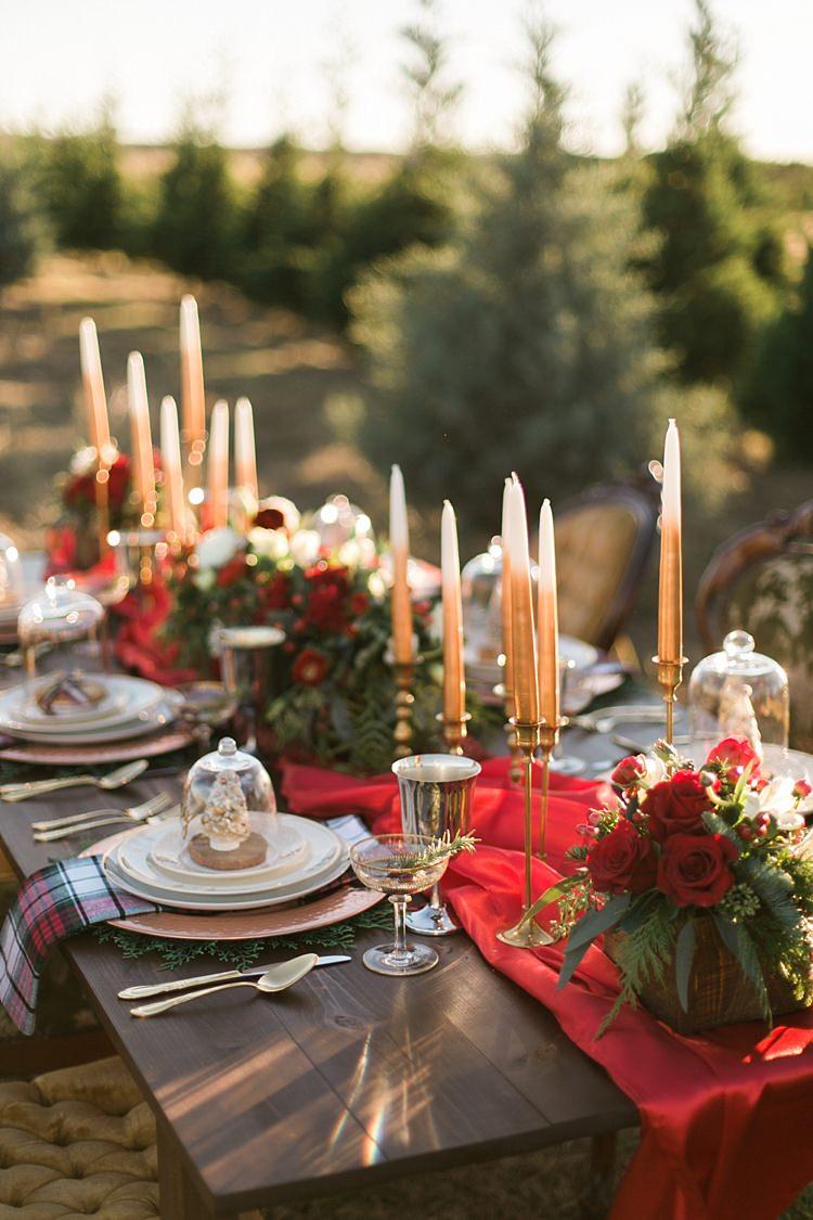 Red Table Runner Cloth Candles Decor Scape Christmas Tree Farm Wedding Ideas http://loriblythe.com/
