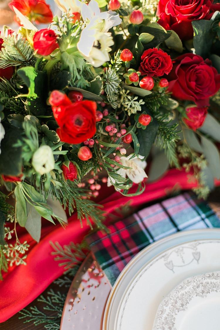 Foliage Red Rose Berries Flowers Table Decor Christmas Tree Farm Wedding Ideas http://loriblythe.com/