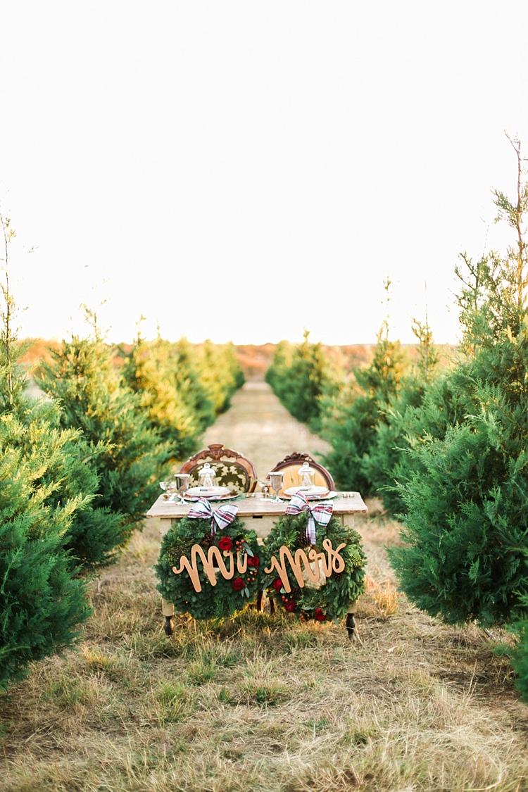 Wreaths Table Decor Mr Mrs Sign Christmas Tree Farm Wedding Ideas http://loriblythe.com/