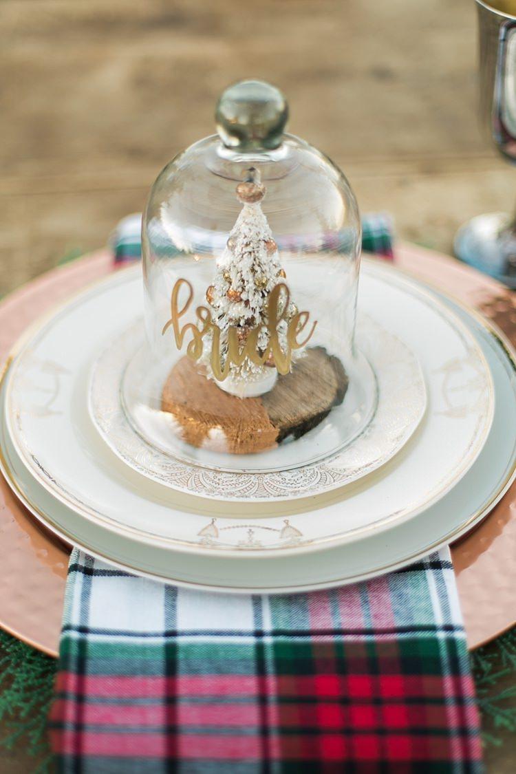 Bell Jar Tree Decor Favour Place Setting Name Christmas Tree Farm Wedding Ideas http://loriblythe.com/