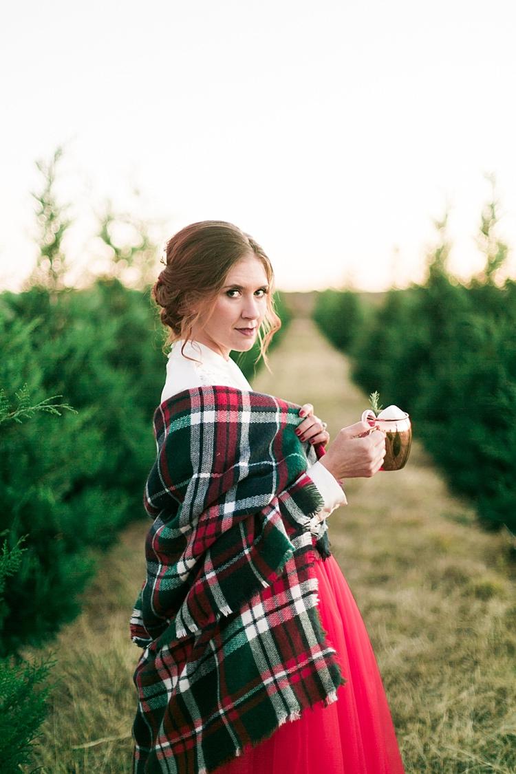 Tartan Blanket Bride Christmas Tree Farm Wedding Ideas http://loriblythe.com/
