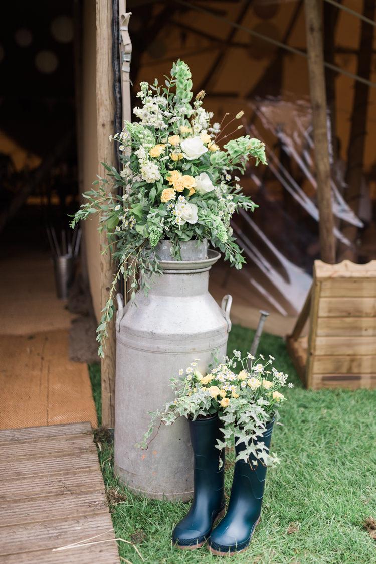 Milk Urn Jug Flowers Wellies Camping Festival Rave Tipi Wedding http://petalandblushartistry.co.uk/