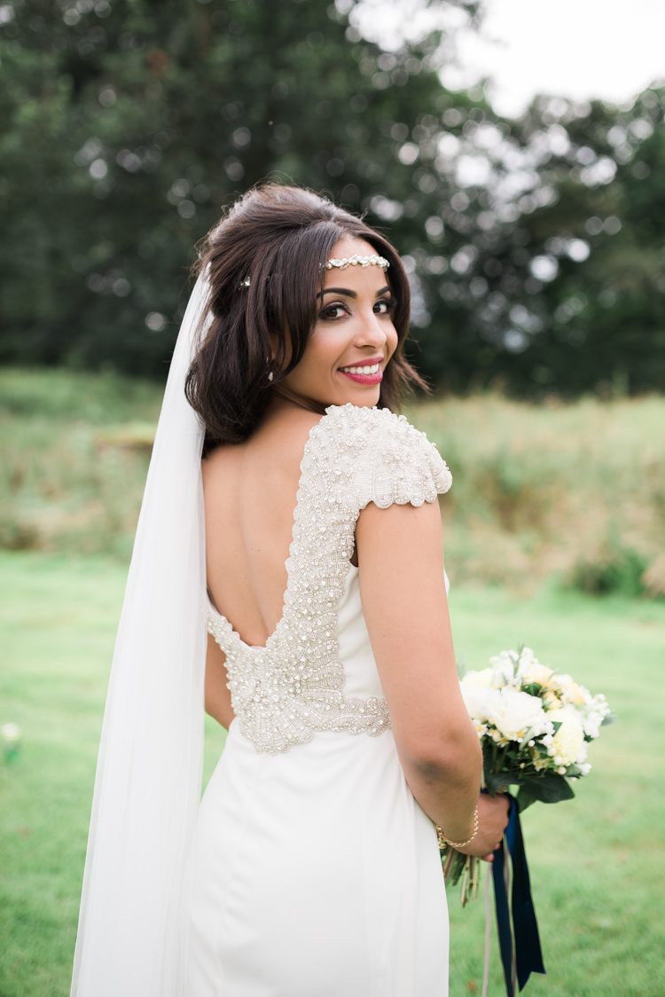 Bride Bridal Dress Gown Embellished Beaded Cap Sleeves Veil Forehead Band Camping Festival Rave Tipi Wedding http://petalandblushartistry.co.uk/
