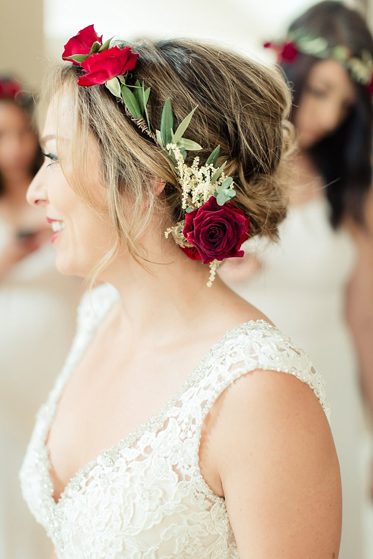 Bride Lace V Neck Bridal Gown Red Maroon Rose Floral Crown Luxe Outdoor Garden Wedding in California http://figlewiczphotography.com/