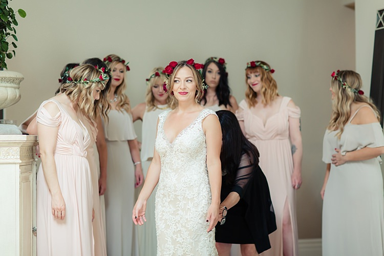 Bride Lace V Neck Bridal Gown Red Maroon Rose Floral Crown Bridesmaids Red Rose Floral Crowns Cream Dresses Luxe Outdoor Garden Wedding in California http://figlewiczphotography.com/