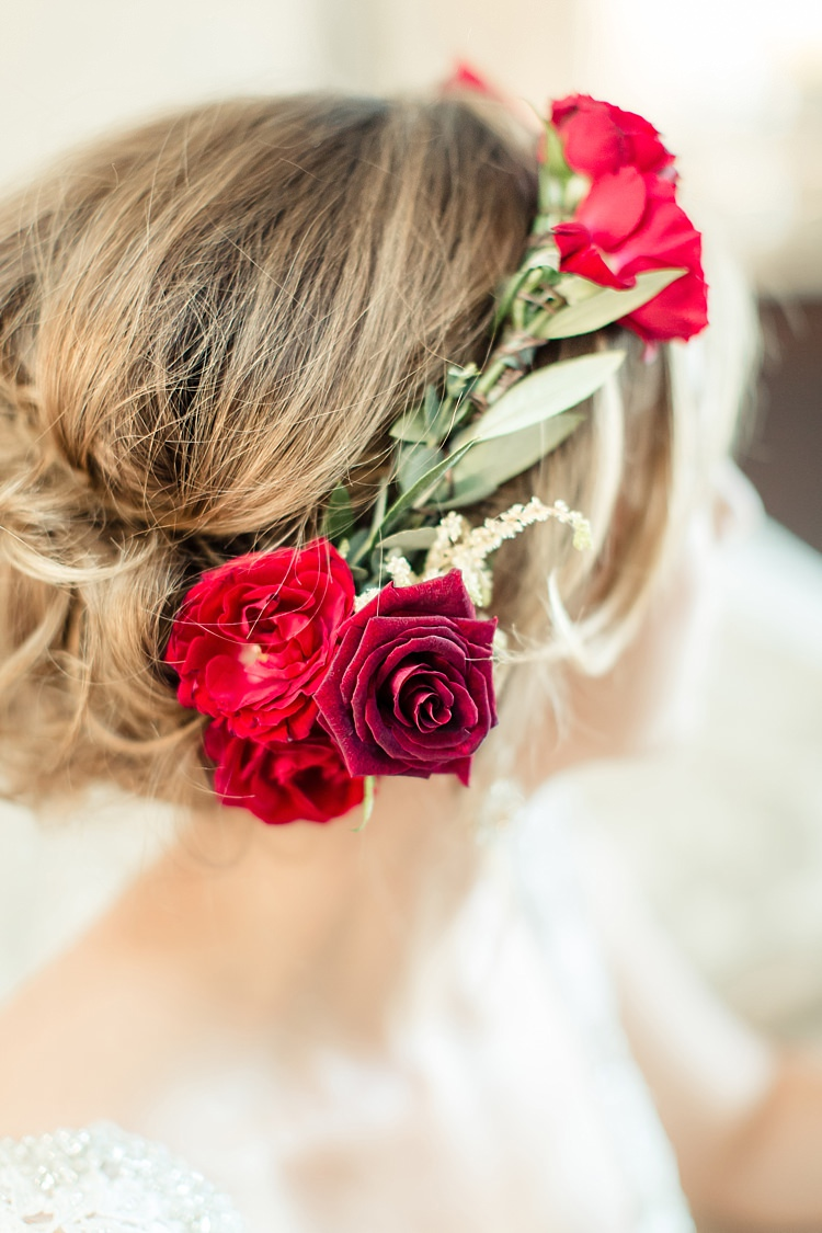 Bride Red Maroon Rose Floral Crown Lace V Neck Bridal Gown Luxe Outdoor Garden Wedding in California http://figlewiczphotography.com/
