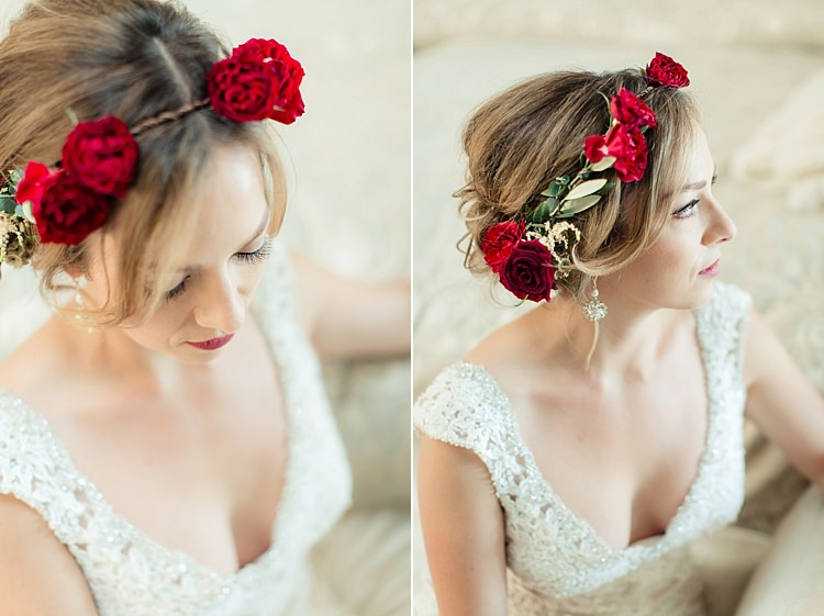 Bride Lace V Neck Bridal Gown Red Maroon Rose Floral Crown Drop Earrings Red Lipstick Luxe Outdoor Garden Wedding in California http://figlewiczphotography.com/