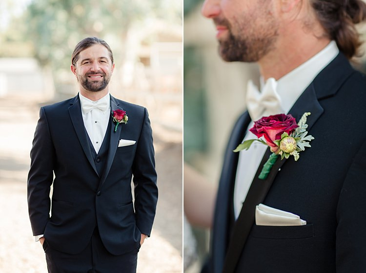 Groom Black Suit White Shirt Bowtie Red Rose Buttonhole White Pocket Square Style Luxe Outdoor Garden Wedding in California http://figlewiczphotography.com/