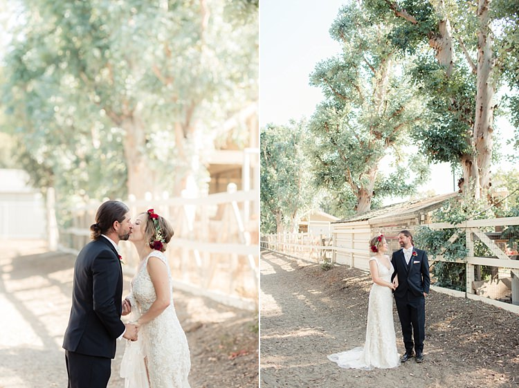 First Look Bride Lace V Neck Bridal Gown Red Maroon Rose Floral Crown Groom Black Suit White Shirt Bowtie Rose Buttonhole Luxe Outdoor Garden Wedding in California http://figlewiczphotography.com/