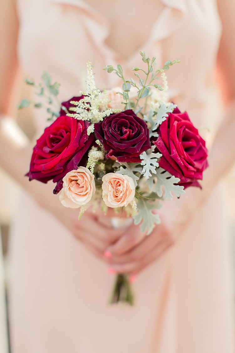 Bridesmaid Bouquet Red Maroon Cream Roses Cream Frilly Dress Luxe Outdoor Garden Wedding in California http://figlewiczphotography.com/