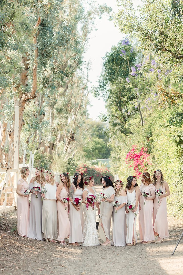Bride Lace V Neck Bridal Gown Red Maroon Rose Floral Crown Bouquet Bridesmaids Cream Blush Dresses Rose Floral Crowns Luxe Outdoor Garden Wedding in California http://figlewiczphotography.com/