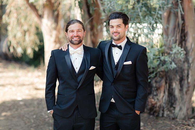 Groom Black Suit White Shirt Bowtie Pocket Square Groomsmen Black Suit Black Bowtie Luxe Outdoor Garden Wedding in California http://figlewiczphotography.com/