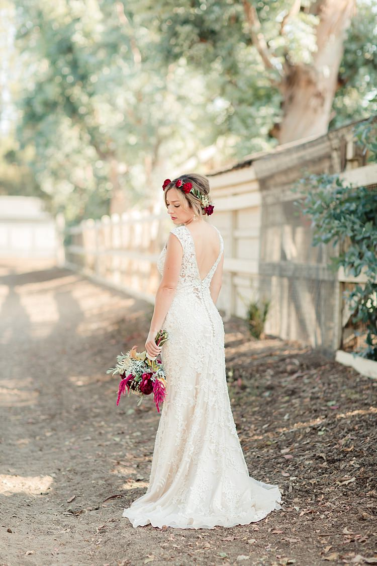Bride Lace V Neck Low Back Buttons Bridal Gown Red Maroon Rose Floral Crown Bouquet Red Pink Cream Rose Garden Rose Amaranth Luxe Outdoor Garden Wedding in California http://figlewiczphotography.com/