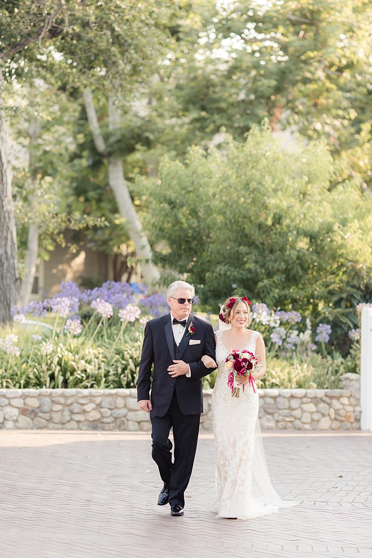 Outdoor Ceremony Bride Lace V Neck Bridal Gown Red Maroon Rose Flower Crown Bouquet Red Maroon Pink Cream Roses Garden Rose Amaranth Father Entrance Luxe Outdoor Garden Wedding in California http://figlewiczphotography.com/