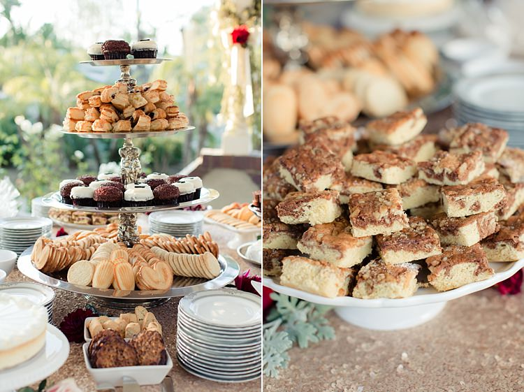 Outdoor Reception Dessert Table Tall Cake Stand Sweet Treats Cupcakes Biscuits Slices Luxe Outdoor Garden Wedding in California http://figlewiczphotography.com/