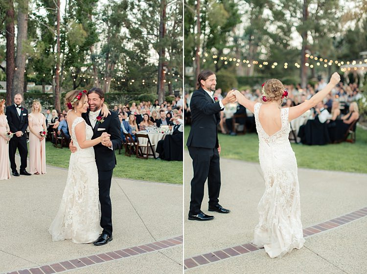 Outdoor Reception Bride Lace V Neck Bridal Gown Red Maroon Rose Floral Crown Groom Black Suit White Bowtie Red Rose Buttonhole Dancing Hanging Fairy Lights Guests Luxe Outdoor Garden Wedding in California http://figlewiczphotography.com/