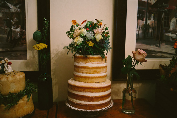 Naked Cake Layer Flowers Small Vintage City Wedding http://www.sarahlondonphotography.co.uk/