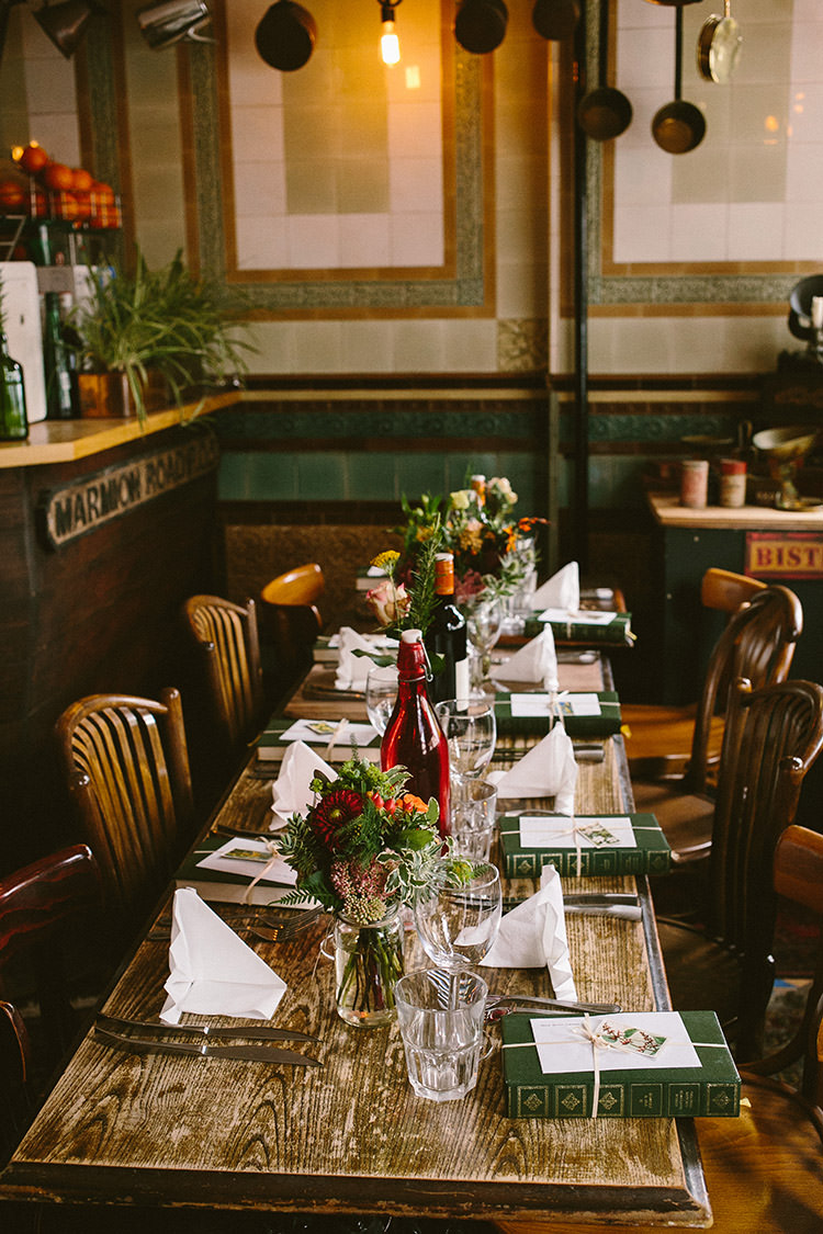 Rustic Tables Flowers Small Vintage City Wedding http://www.sarahlondonphotography.co.uk/