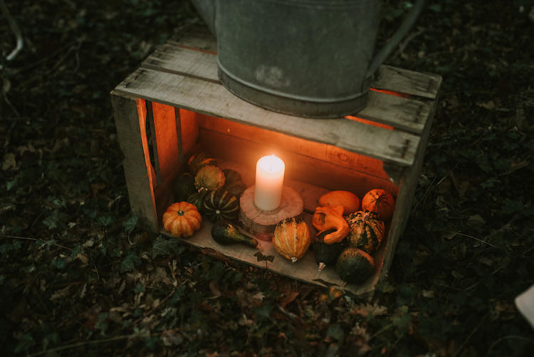 Wooden Crate Watering Can Pumpkins Candle Organic Woodland Elopement Wedding Ideas http://www.miraalpajarito.es/