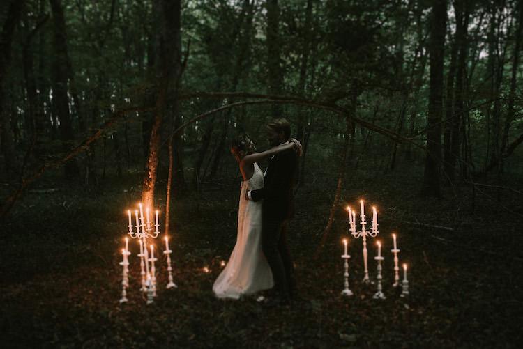Bride Lace Halter-Neck Bridal Gown Long Train Groom Black Jacket Wooden Bowtie Candlesticks Dancing Organic Woodland Elopement Wedding Ideas hhttp://www.miraalpajarito.es/