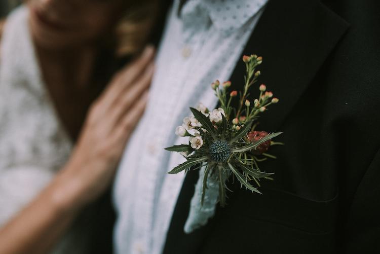 Groom Black Jacket Polka Dot Shirt Floral Buttonhole Thistle Organic Woodland Elopement Wedding Ideas http://www.miraalpajarito.es/