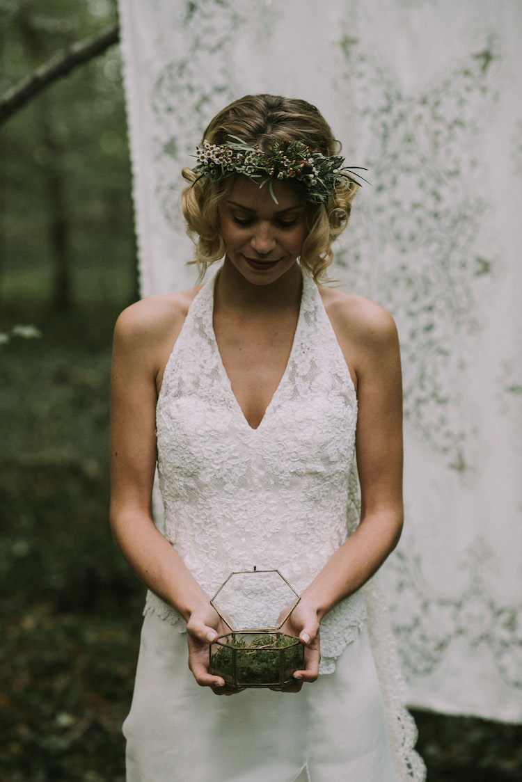 Bride Lace Halter-Neck Bridal Gown Long Train Floral Crown Gold Glass Container Wedding Bands White Backdrop Organic Woodland Elopement Wedding Ideas http://www.miraalpajarito.es/