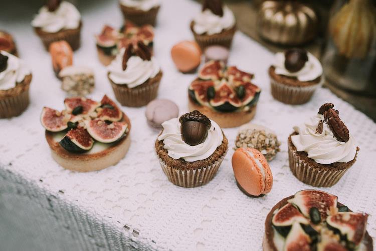 Dessert Table Tarts Cupcakes Macaroons Fresh Fruit Nuts Organic Woodland Elopement Wedding Ideas http://www.miraalpajarito.es/