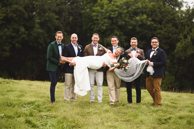Groom Groomsmen Mismatched Jackets Chinos Bow Tie Colourful Outdoorsy Festival Tipi Wedding http://www.jacksonandcophotography.com/